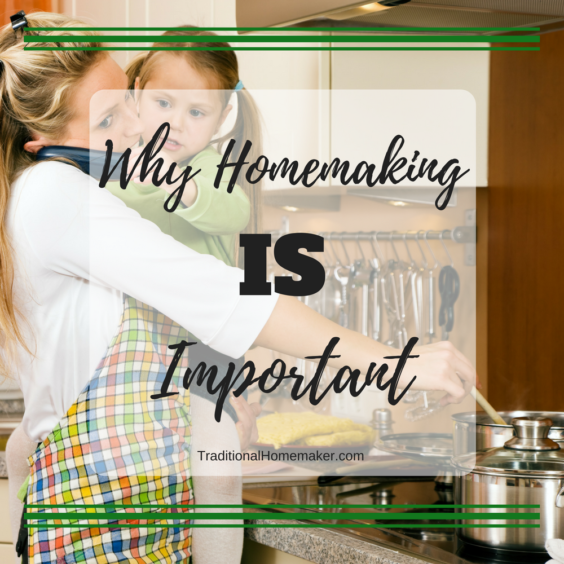 Homemaker wearing an apron talking on the phone with a little girl in her arms while stirring a pot on the stove.