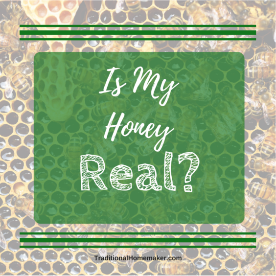 Is My Honey Real. Honeycomb with bees in the background of text overlay.