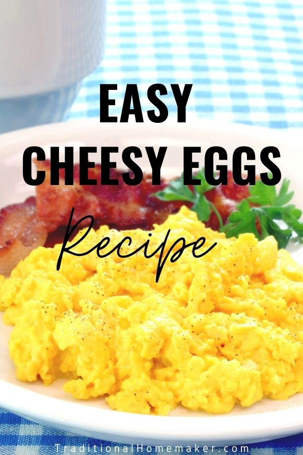 Make this easy cheesy eggs recipe for breakfast for your whole family. This recipe is a great way to switch up the same old same old eggs.