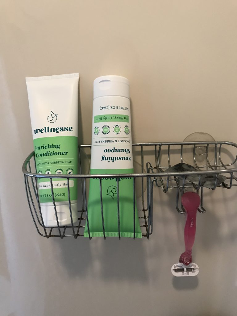 I store my Wellnesse Shampoo upside down so it doesn't run out of the bottle too fast.