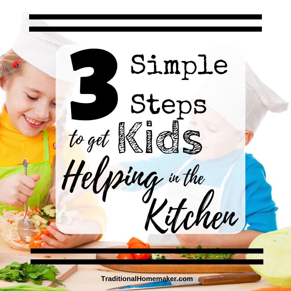 Allowing kids to help in the kitchen can be a stretch of patience. Take these three simple steps to get your kids helping in the kitchen.